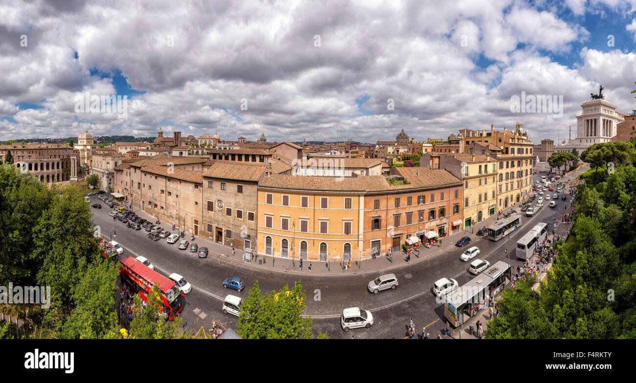 Italy, Europe, Lazio, Rome, Roma, city, village, spring, people, Via del Theatro di Marcello, overview, city - Stock Image