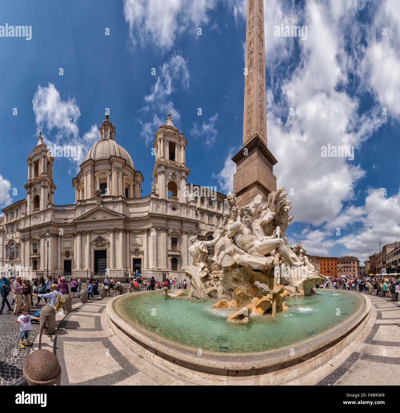 Italy, Europe, Lazio, Rome, Roma, city, village, water, spring, people, fountain, Piazza Navona, Sant'Agnese in Stock Photo