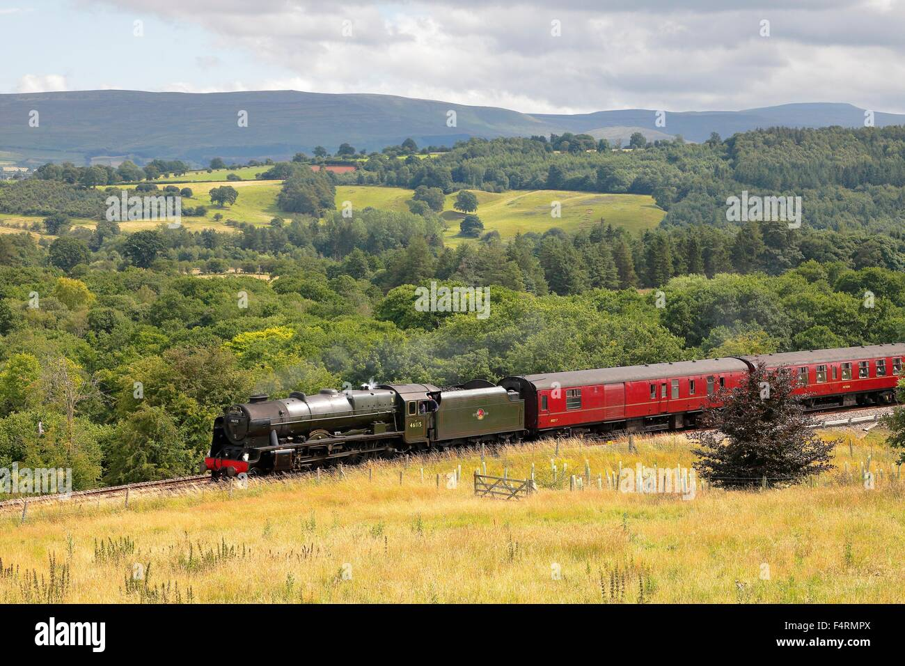 Steam train LMS Royal Scot Class 46115 Scots Guardsman on the Settle to Carlisle Railway Line near Lazonby, Eden Stock Photo
