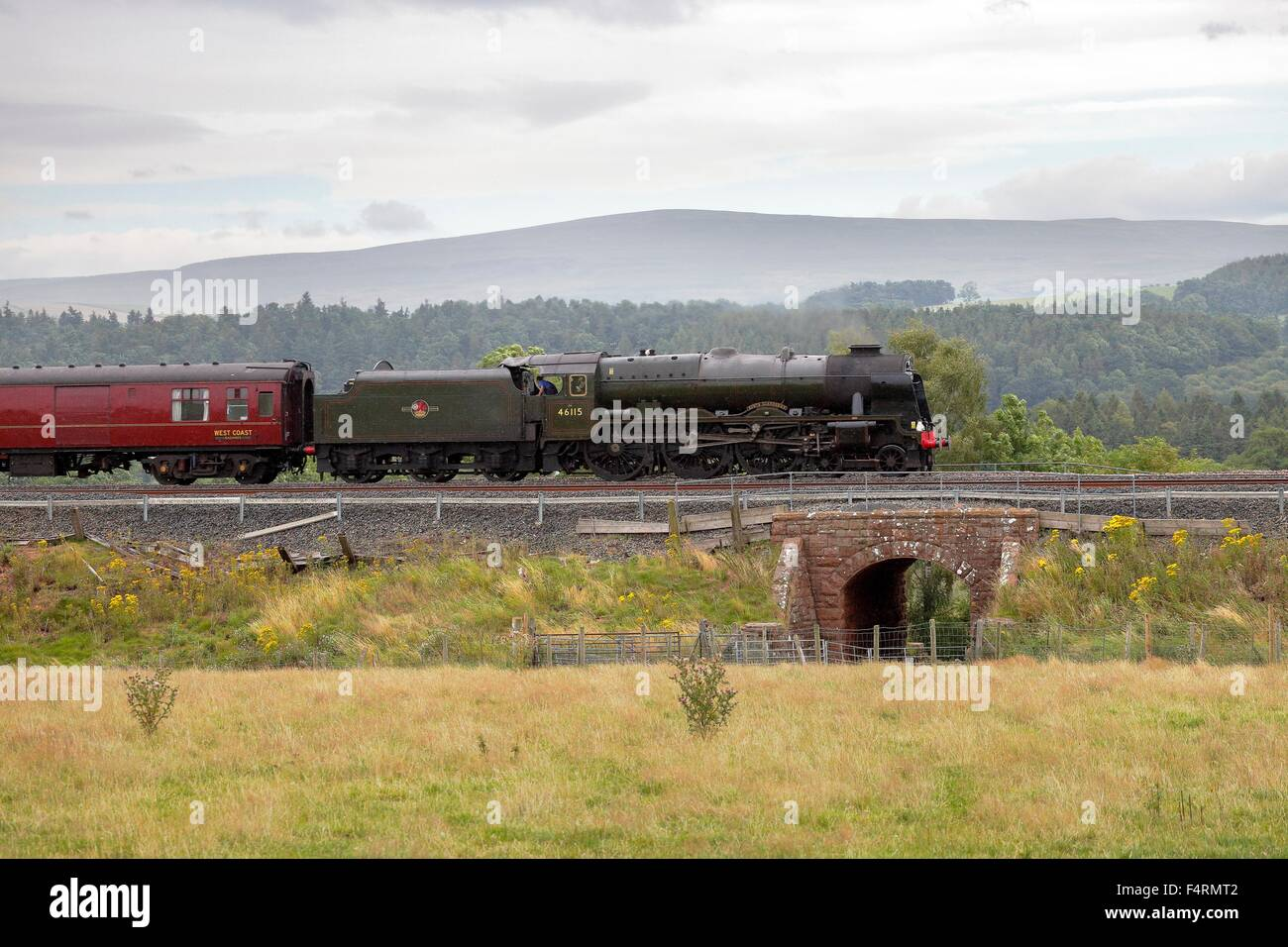 Steam train LMS Royal Scot Class 46115 Scots Guardsman on the Settle to Carlisle Railway Line near Lazonby, Eden - Stock Image