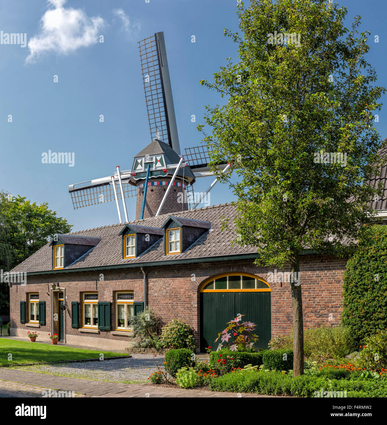 Netherlands, Europe, Holland, Horn, Limburg, windmill, city, village, summer, Prosperity - Stock Image
