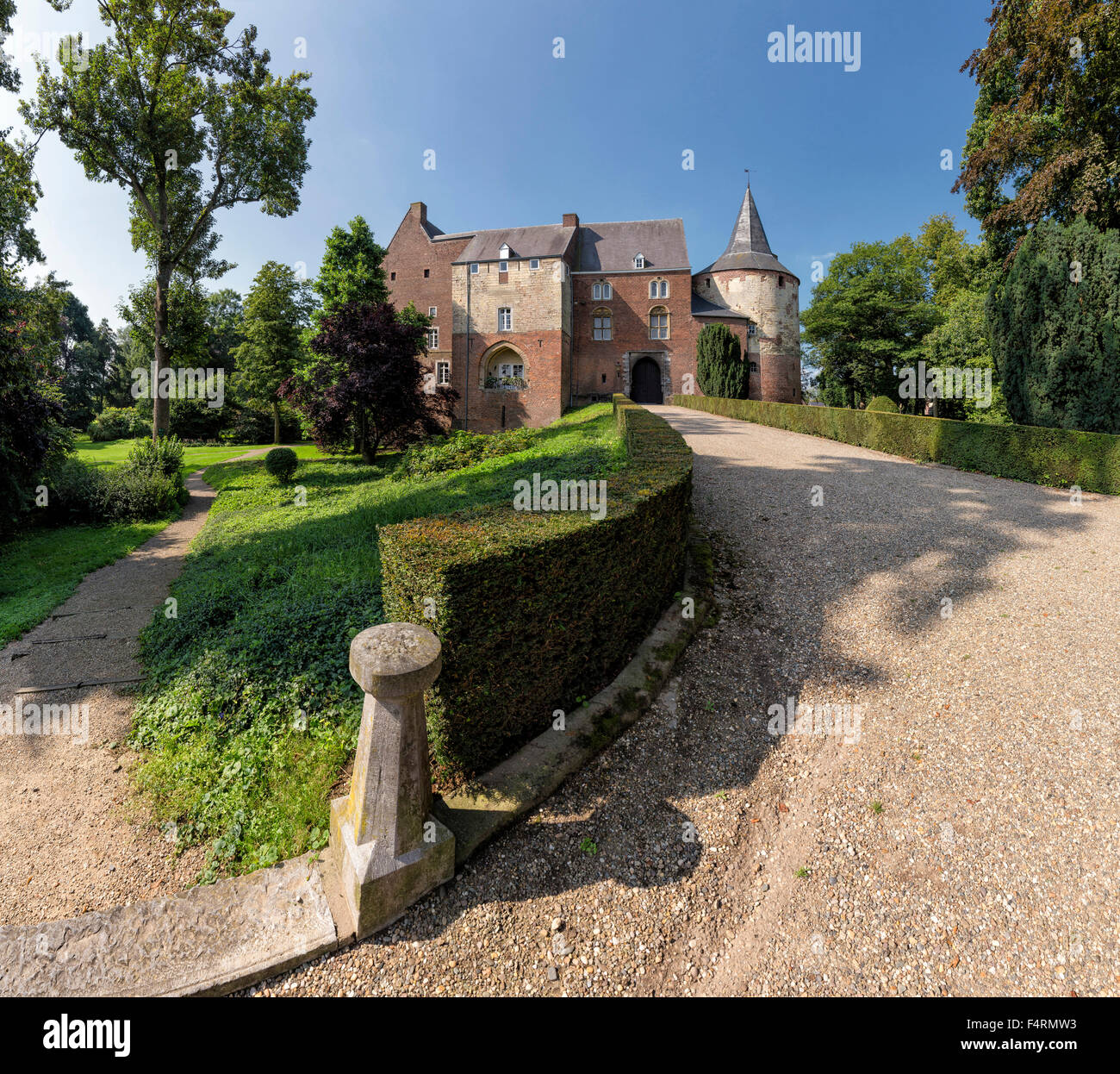Netherlands, Europe, Holland, Horn, Limburg, castle, forest, wood, trees, summer, garden, Horn castle - Stock Image