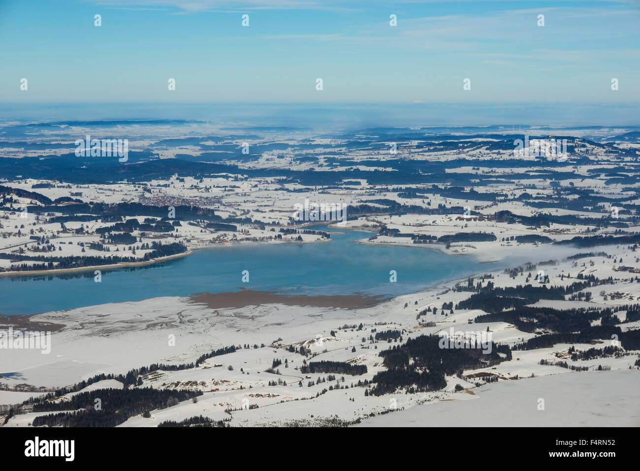 Bavaria, Germany, Europe, Forggensee, fog, Ostallgäu, panorama, Swabian, lake scenery, Tegelberg, winter, scenery, Stock Photo