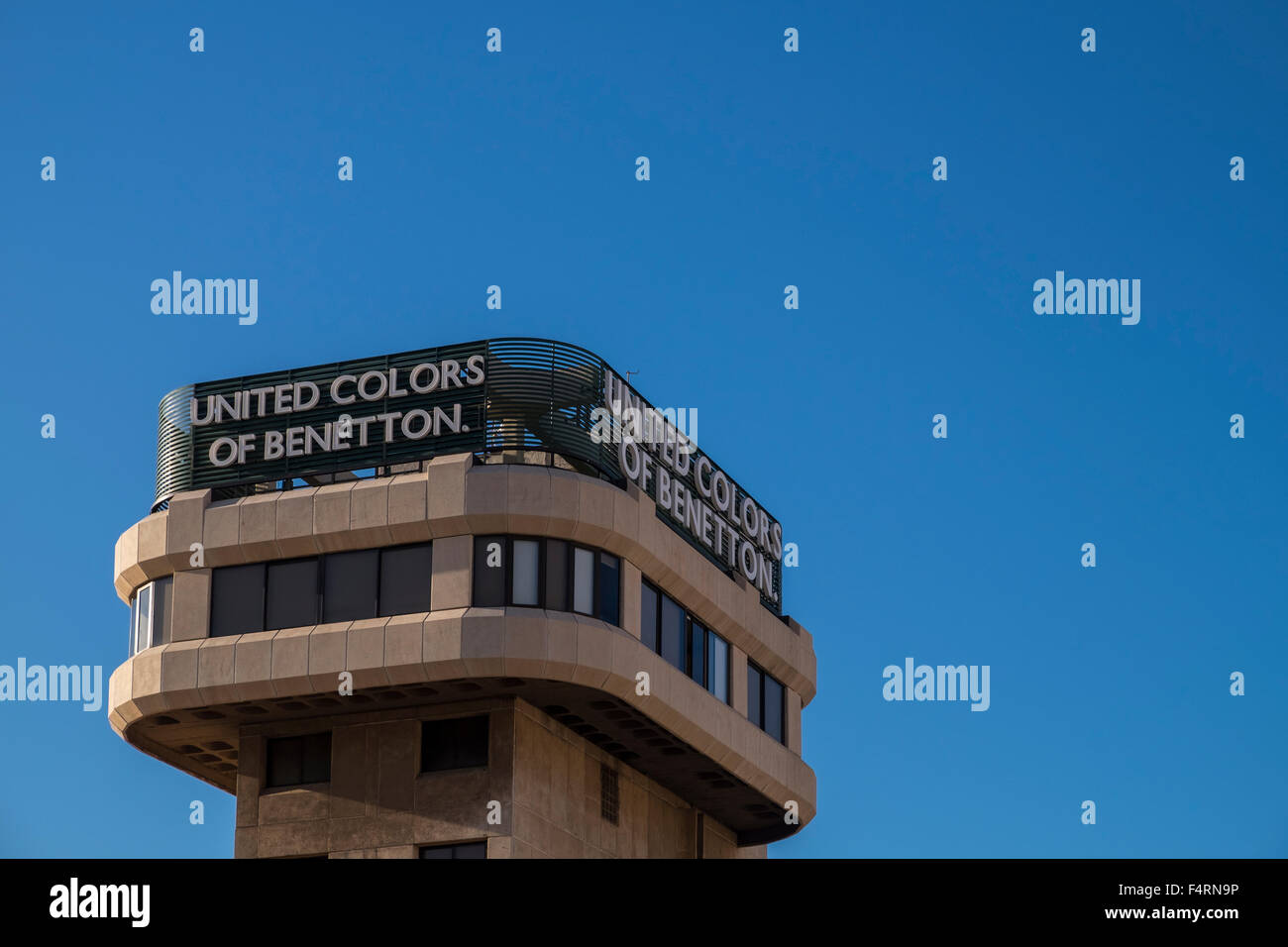 Benetton advertising on the roof of a building in Santa Cruz, Tenerife, Canary Islands, Spain. - Stock Image