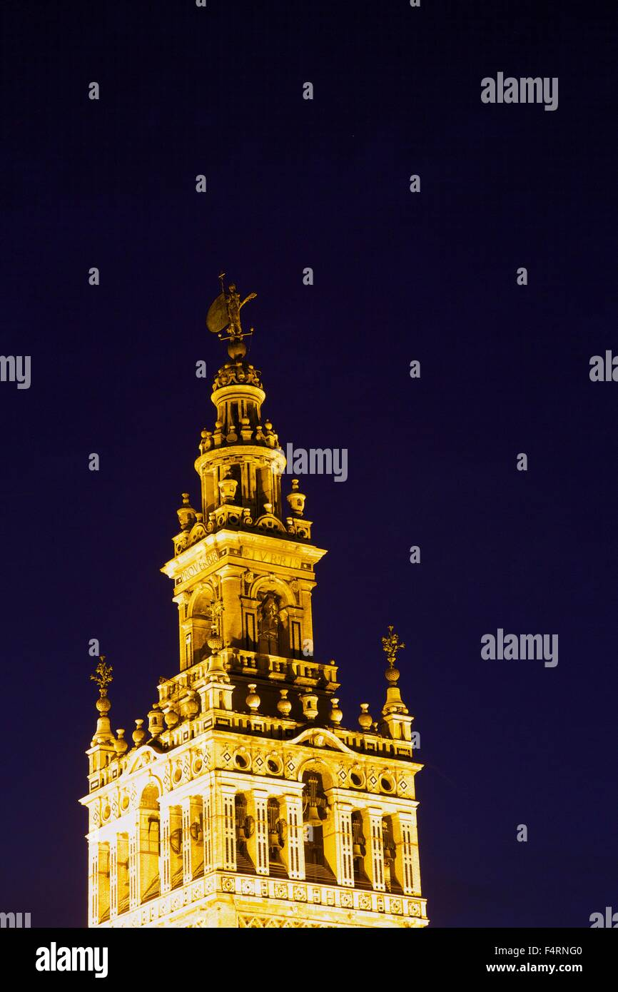 La Giralda, bell tower, minaret, UNESCO World Heritage Site , floodlit in evening, Seville Cathedral, Andalucia, - Stock Image