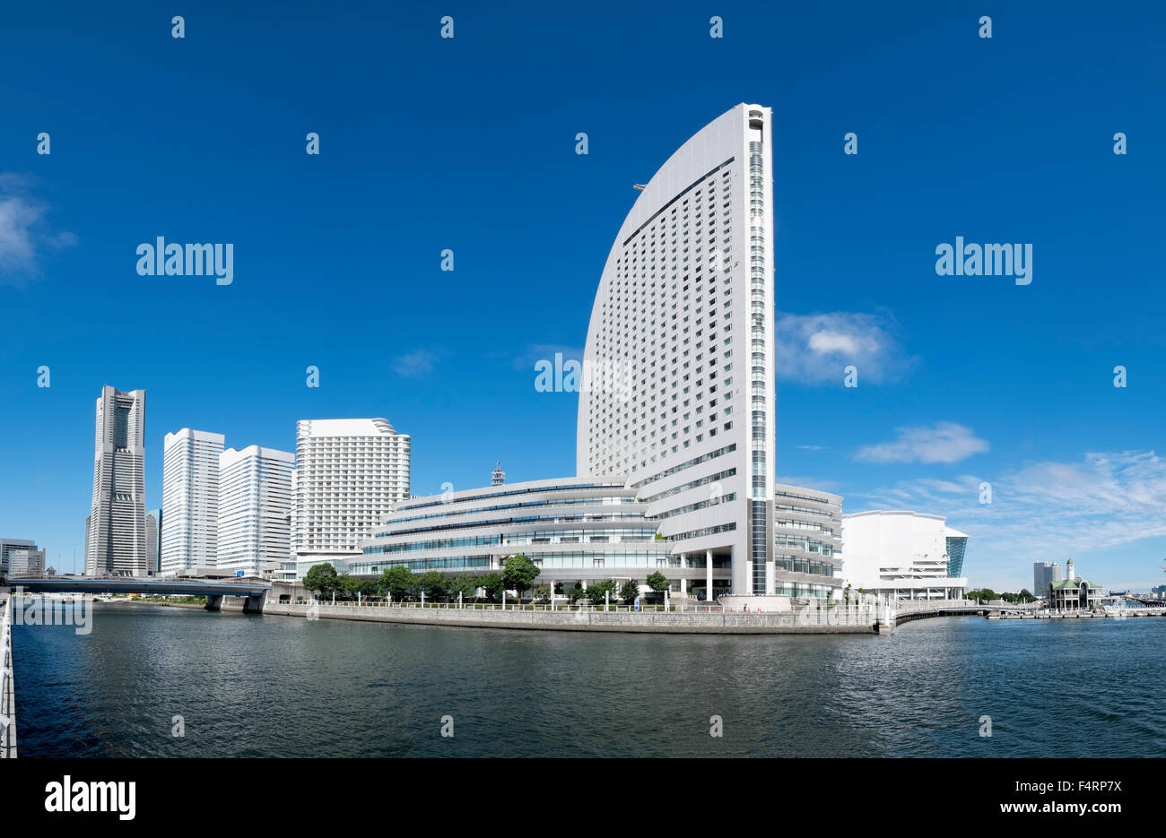 View of Intercontinental Hotel and skyline of Minato Mirai in Yokohama Japan - Stock Image