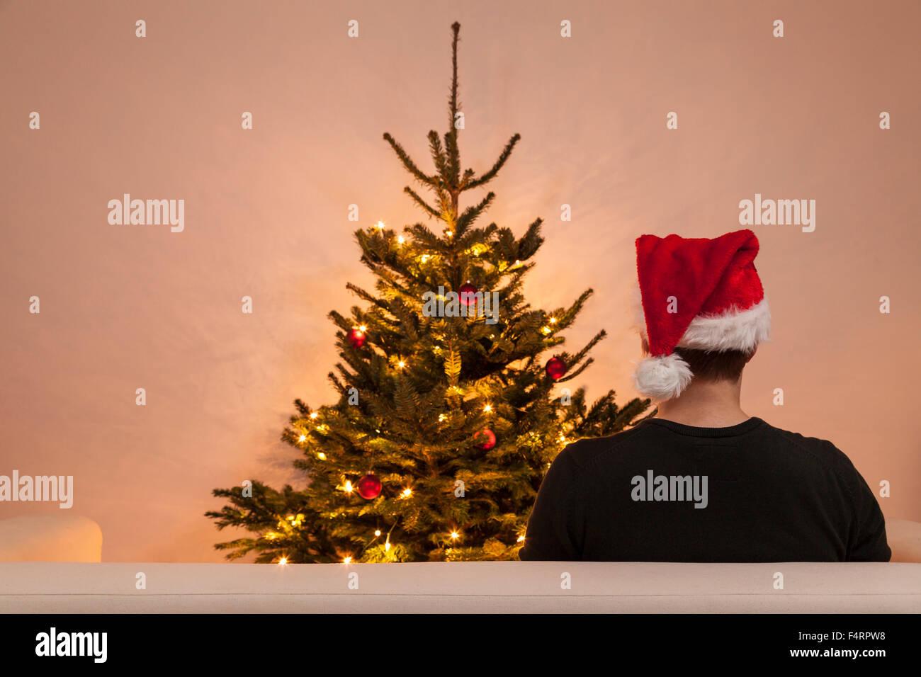 single man alone on christmas eve - Stock Image