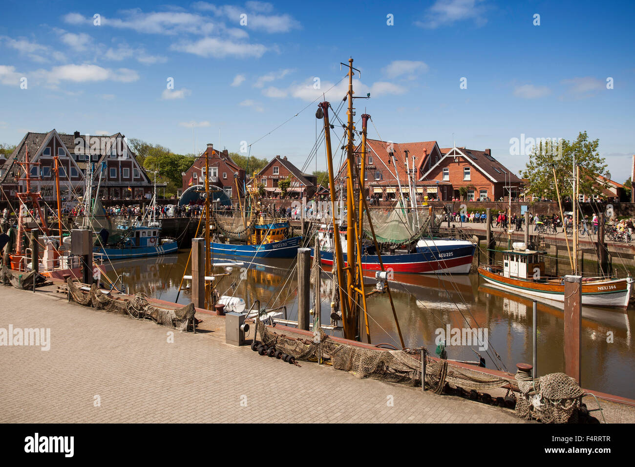 Crab cutters in the harbour of  Neuharlingersiel, East Friesland, Lower Saxony, Germany, Europe Stock Photo