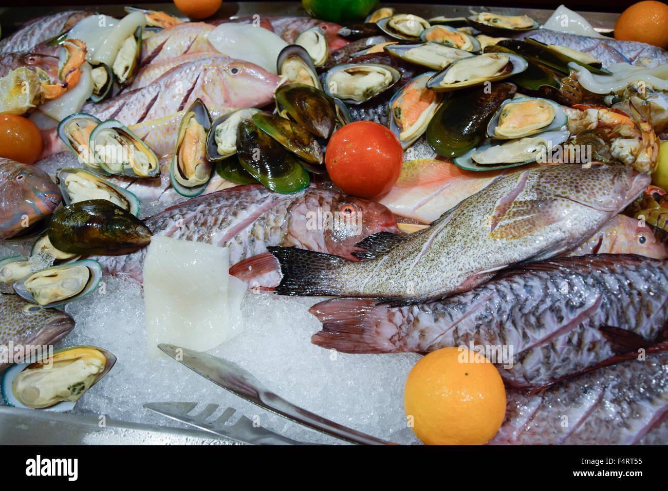 Beau Vallon, decoration, fish, hotel Savoy, Mahe, Retaurant, Seychelles, Africa, - Stock Image