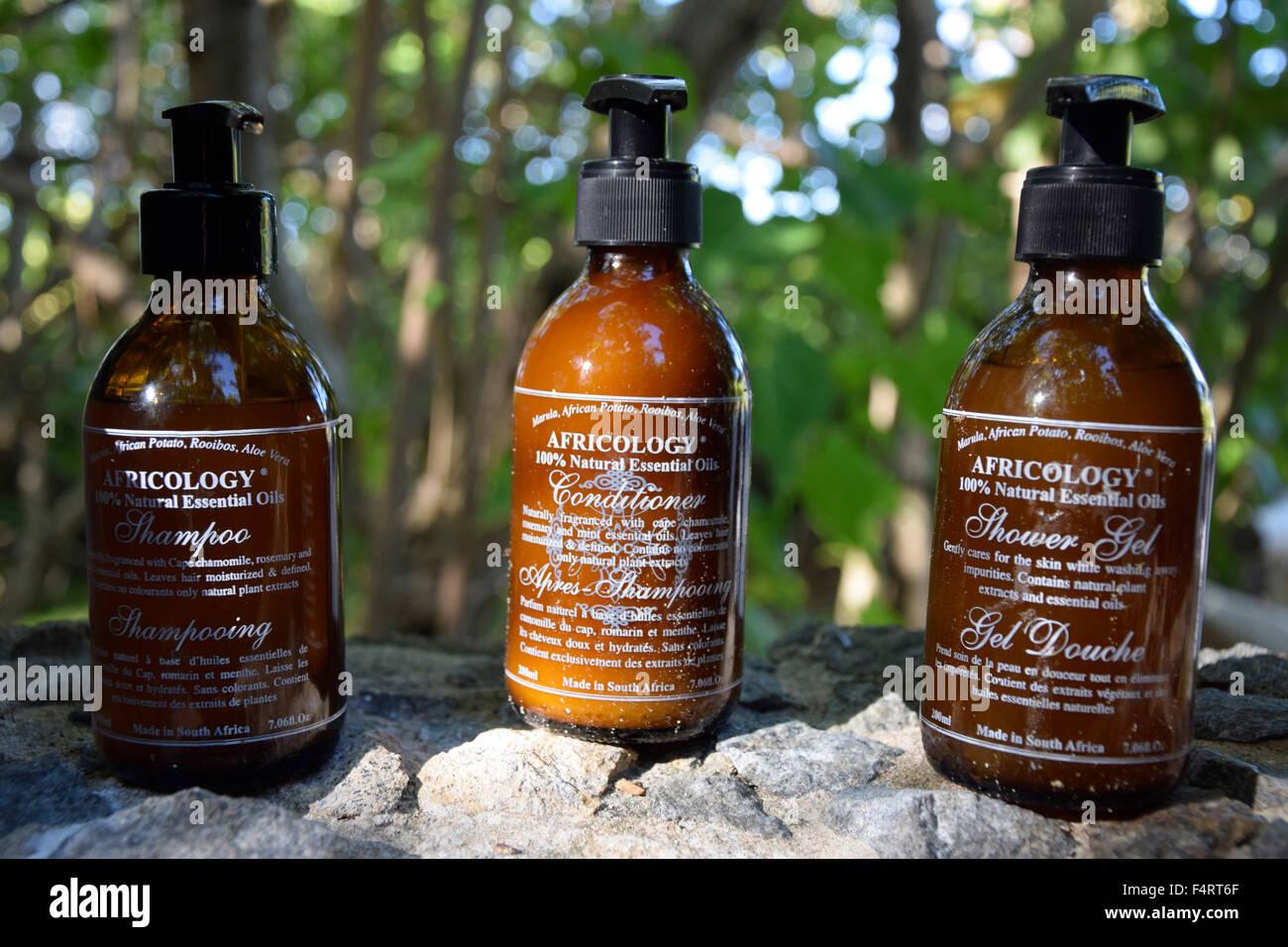 Shower gel, North Island, Seychelles, Africa, bottles, - Stock Image