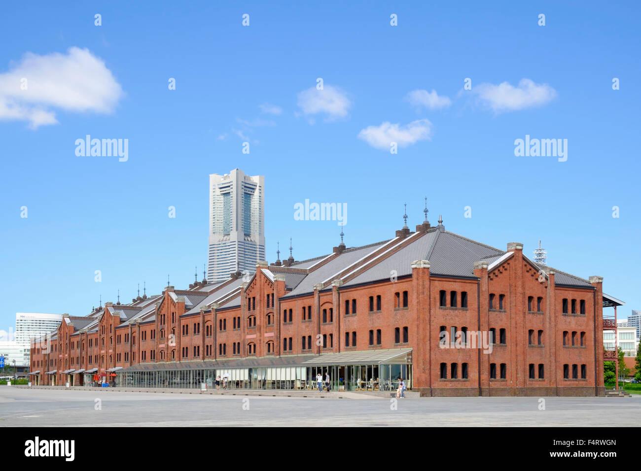 Historic Red Brick Warehouses in Yokohama Japan - Stock Image