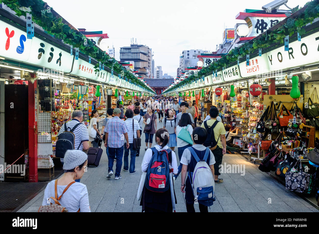 View along busy Nakamise Shopping Street at Sensoji Shrine in Asakusa district of Tokyo Japan - Stock Image