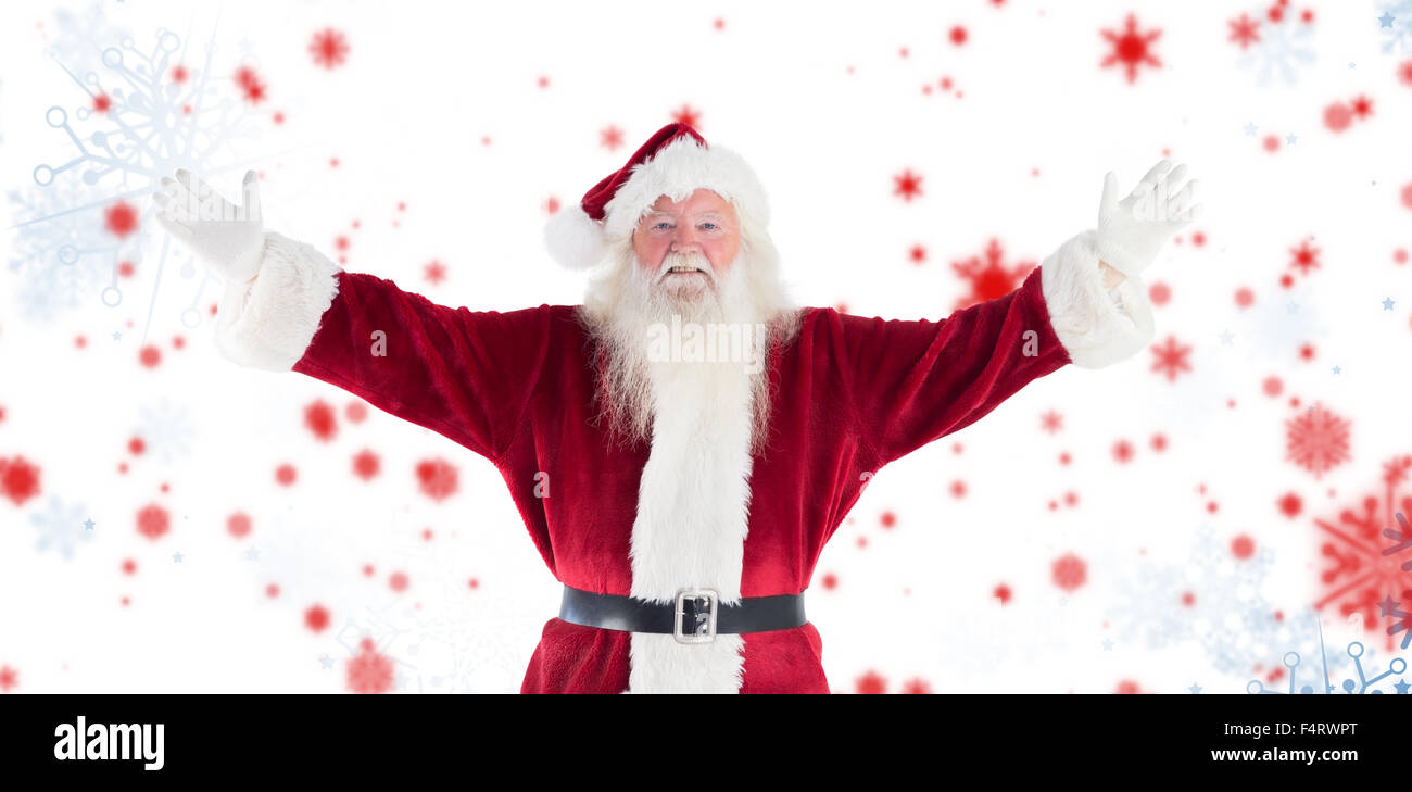 Composite image of jolly santa opens his arms to camera - Stock Image