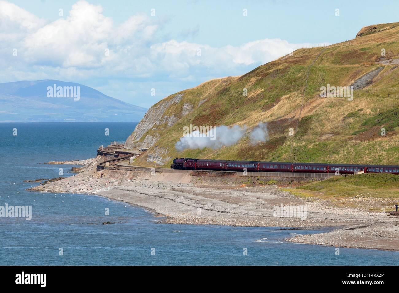 Steam locomotive LMS Jubilee Class 45699 Galatea. Parton Bay, Parton, Whitehaven, Cumbria, England, UK. Stock Photo