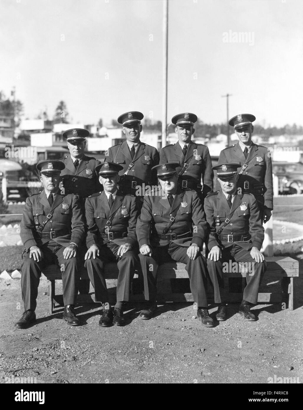 AEC Atomic Energy Commision Patrol Officers. 1944. Oak Ridge. The town of Oak Ridge was established by the Army - Stock Image