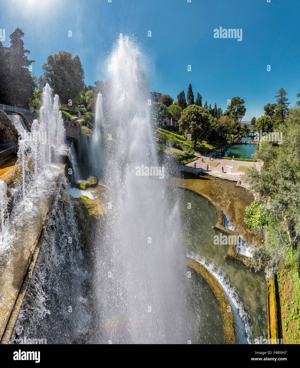 Italy, Europe, Tivoli, Lazio, Villa d'Este, garden, ponds ...