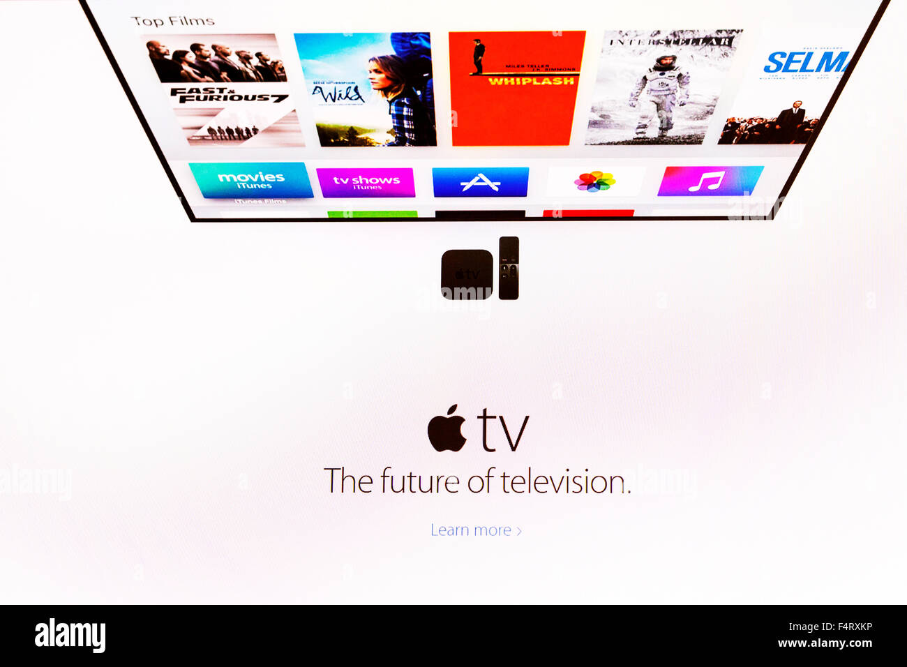 Apple TV website homepage online screen screenshot television company web site internet net sign in UK - Stock Image