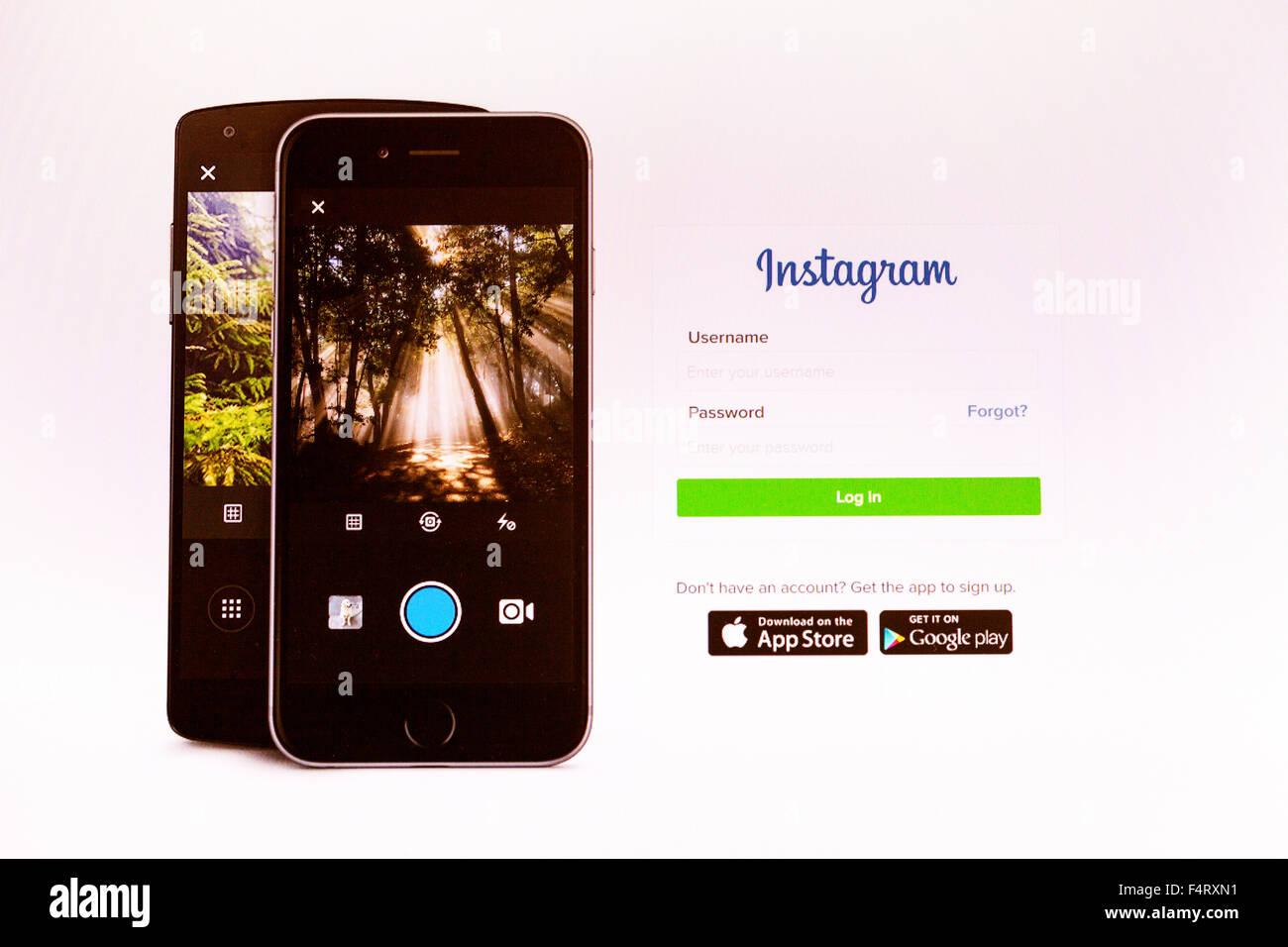 Instagram website homepage log in password security online