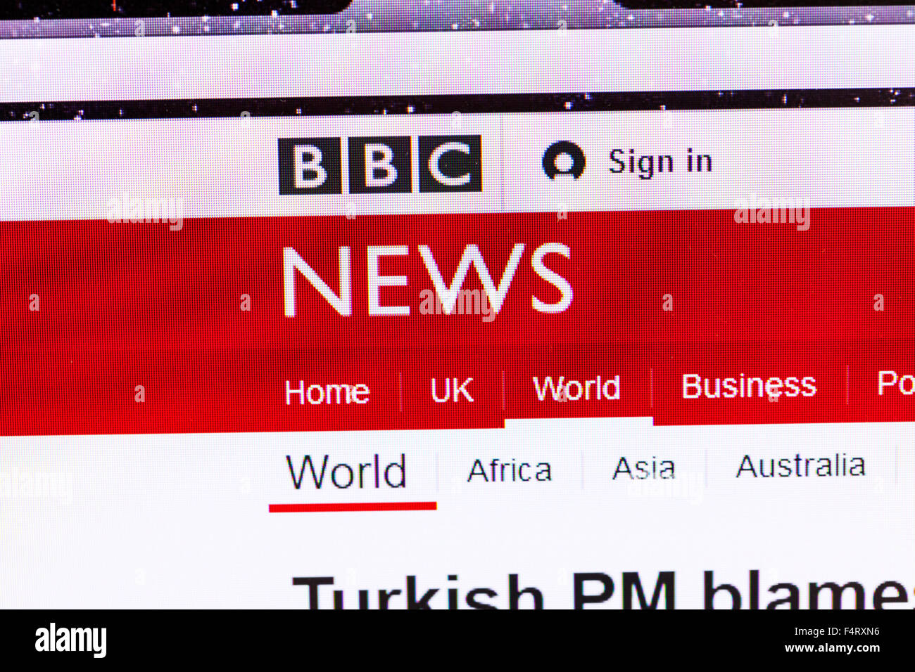 BBC news website homepage online screen screenshot web site internet net sign in UK - Stock Image
