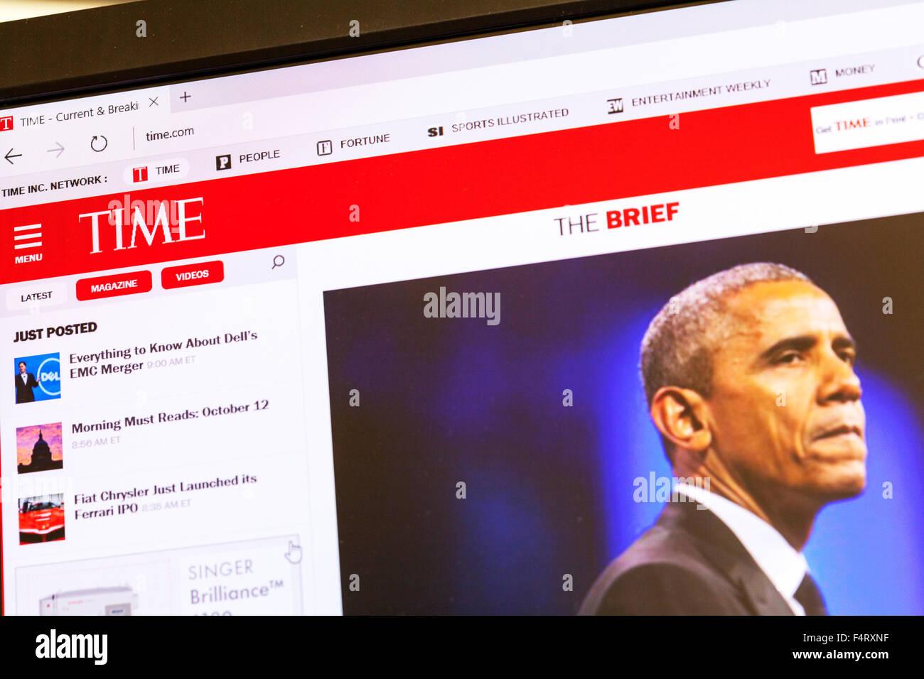 Time magazine website homepage online screen screenshot web site internet net UK - Stock Image
