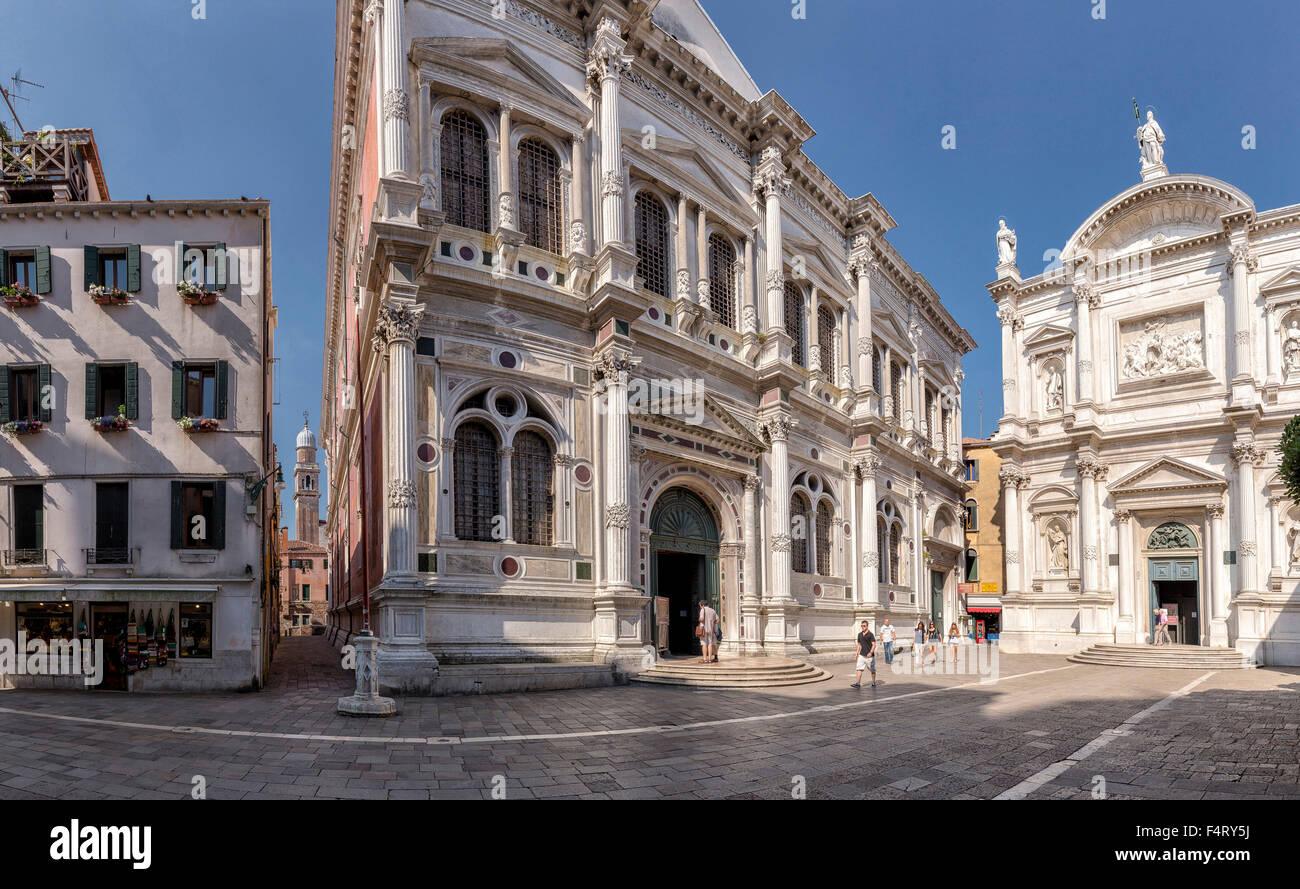 Italy, Europe, Venezia, Venice, Veneto, Calle Tintoretto, Scuola Grande, San Rocco, village, summer, people, - Stock Image