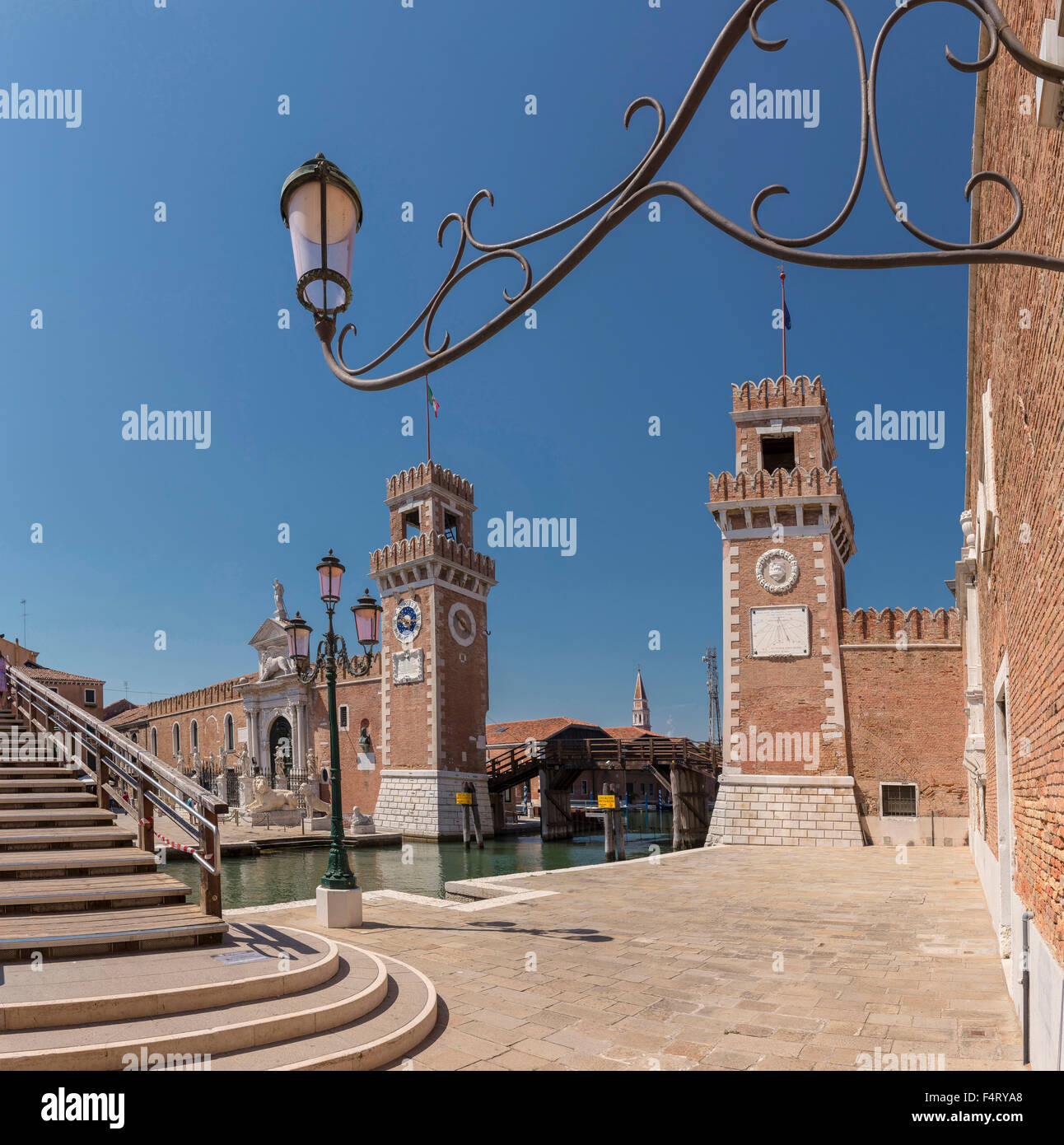 Italy, Europe, Venezia, Venice, Veneto, Arsenale di Venezia, Castello, village, water, summer, fortress, - Stock Image