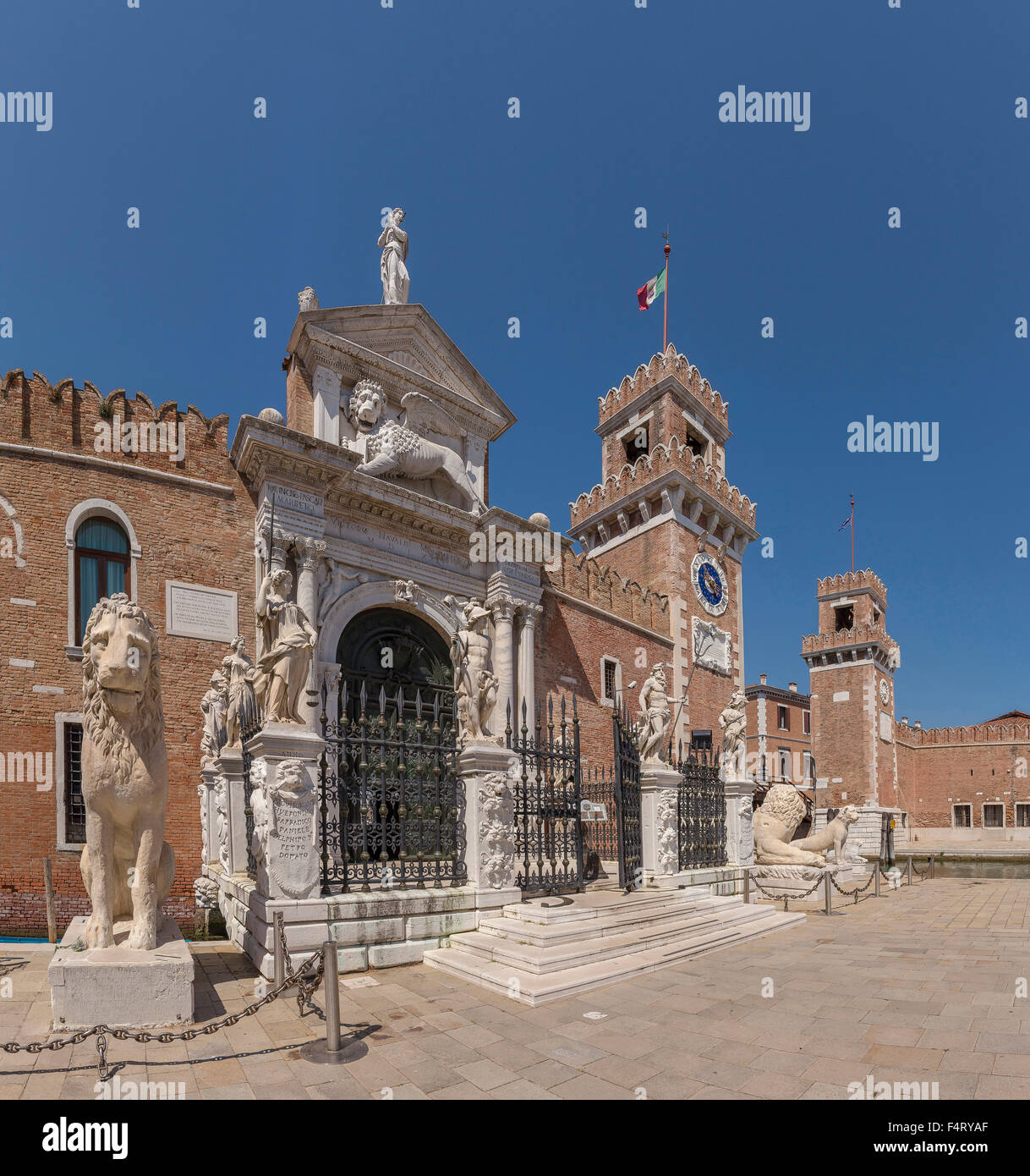 Italy, Europe, Venezia, Venice, Veneto, Arsenale di Venezia, entrance, Castello, village, summer, fortress, - Stock Image