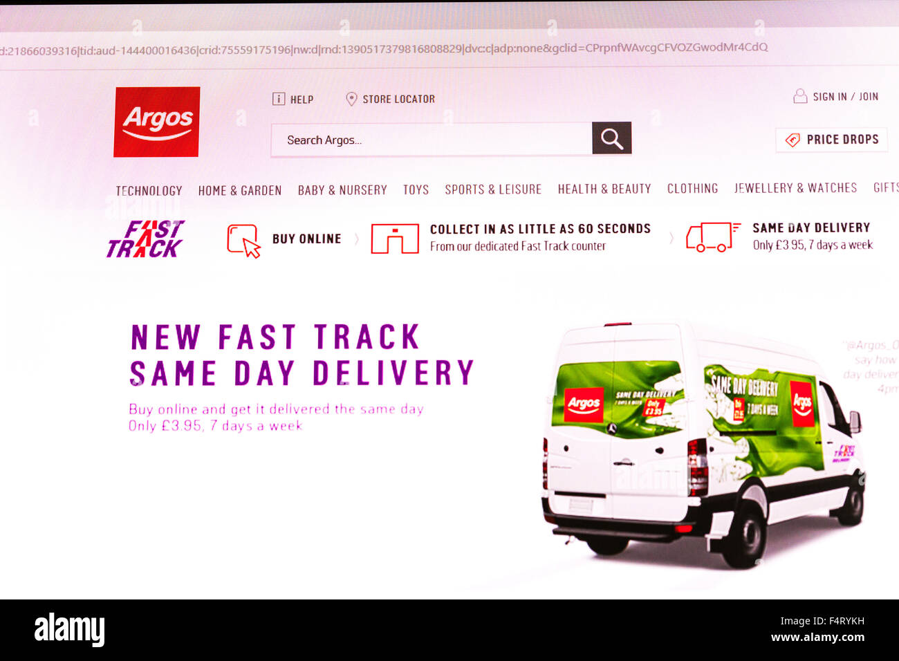 Argos website homepage online screen screenshot shop shopping web site internet net sign in UK - Stock Image