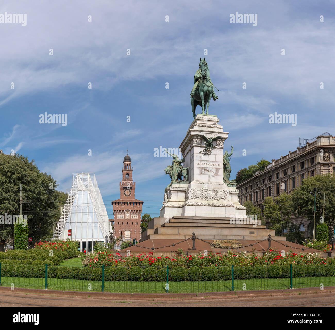 Italy, Europe, Milano, Lombardy, Largo Benedetto Cairoli, Castello Sforzesco, statue, Garibaldi, city, summer, - Stock Image