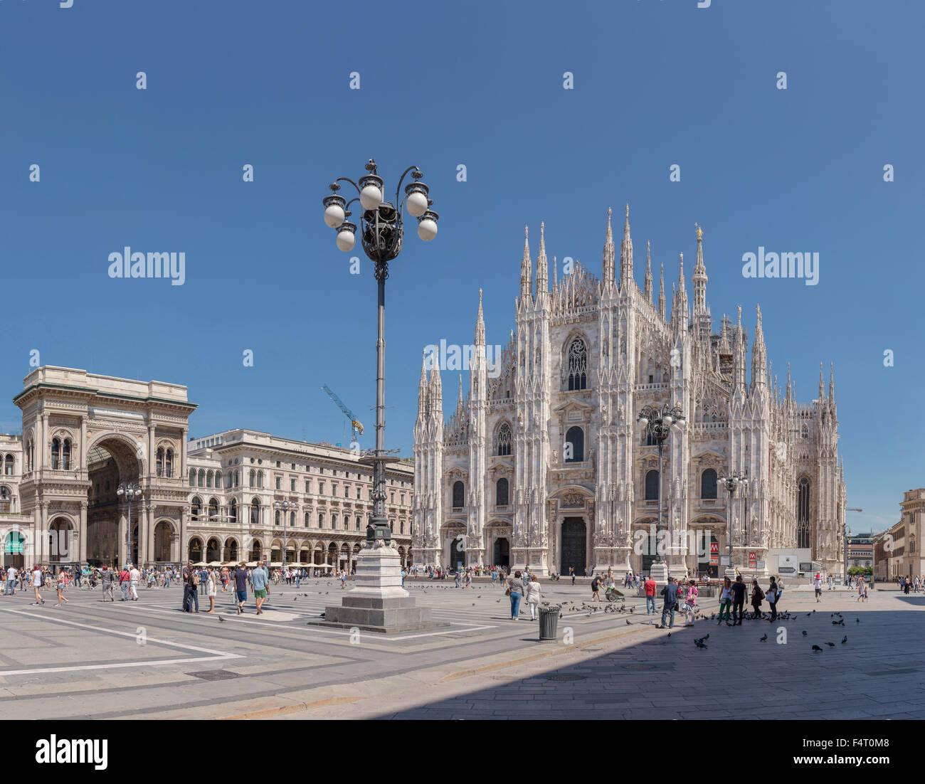 Italy, Europe, Milano, Lombardy, Piazza del Duomo, Duomo di Milano, dome, church, Galleria Vittorio Emanuele II, - Stock Image