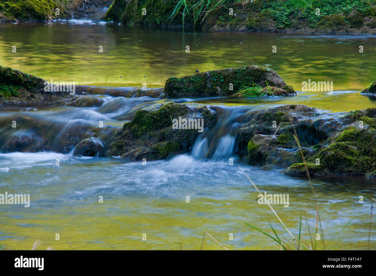 Fish stair in the Sur, - small river in the Rupertiwinkel - seen near Teisendorf - Stock Image