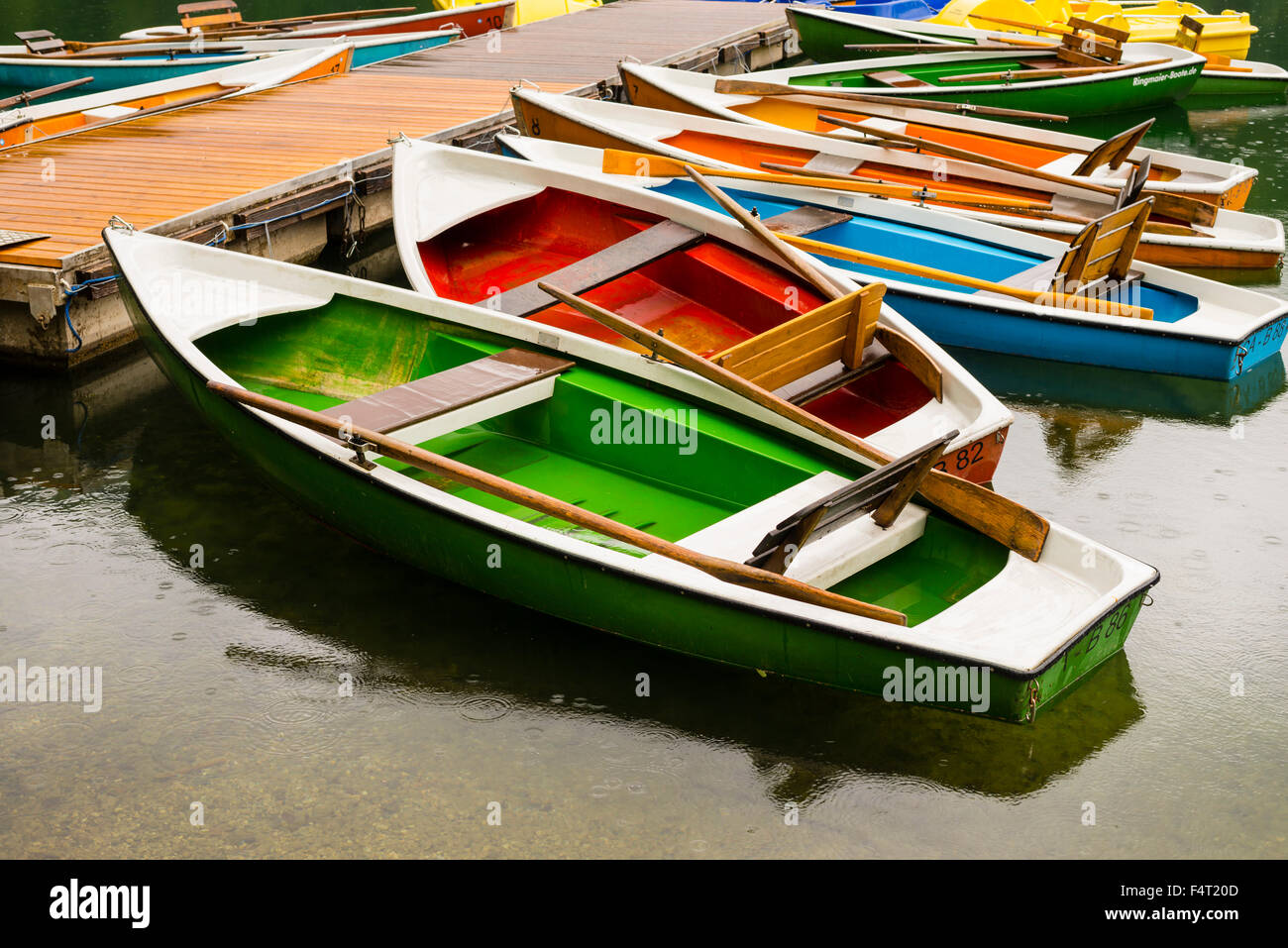 Allgäu, Bavaria, mountain lake, boats, boat rental company, Germany, Europe, Freiberg lake, body of water, - Stock Image
