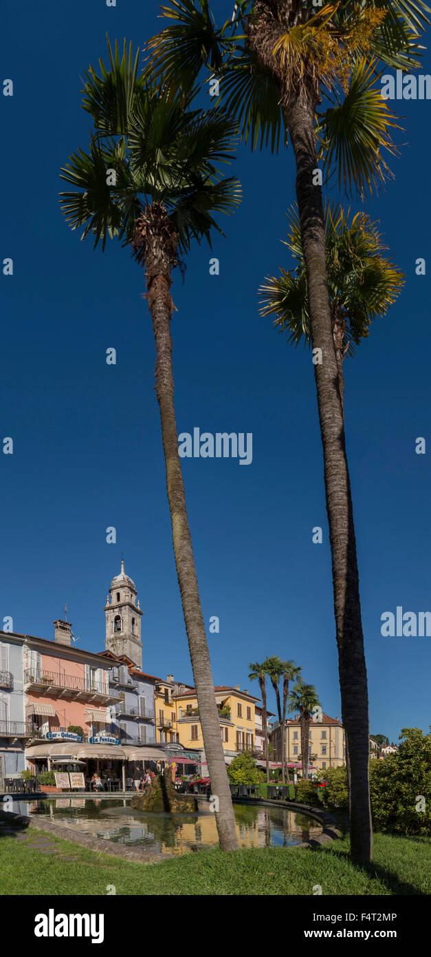 Italy, Europe, Verbania, Piemonte, Piedmont, Piazza Guiseppe Garibaldi, city, village, forest, wood, trees, summer, - Stock Image