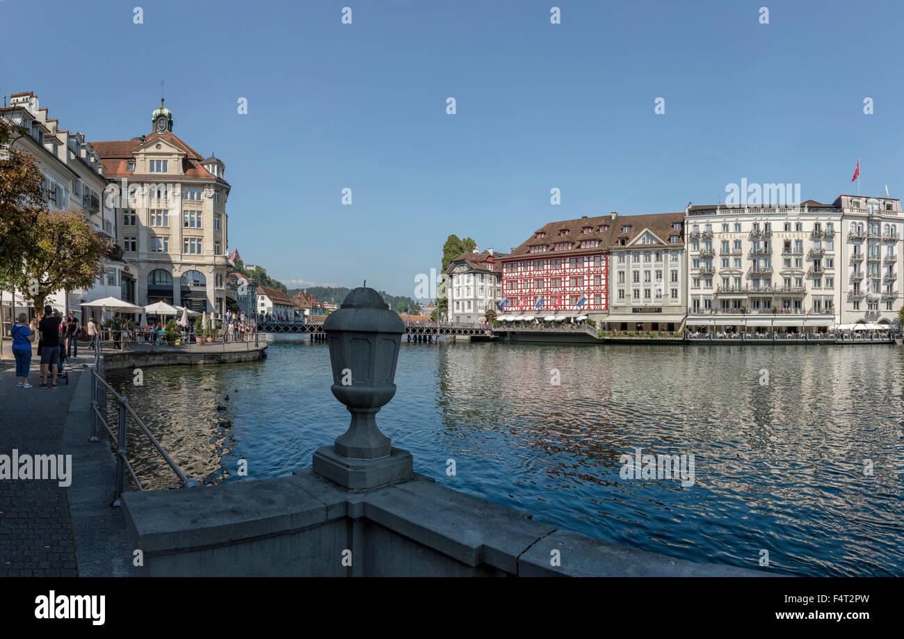 Switzerland, Europe, Luzern, Lucerne, banks, river, Reuss, city, water, summer, people, - Stock Image