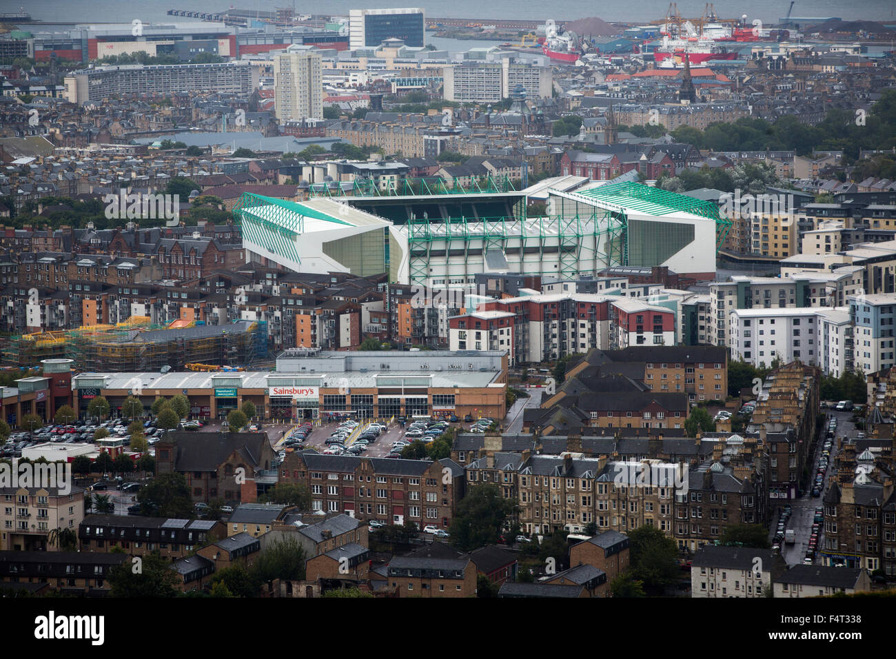 Easter Road stadium, pictured from Arthur's Seat before the Scottish Championship match between Hibernian and visitors Stock Photo