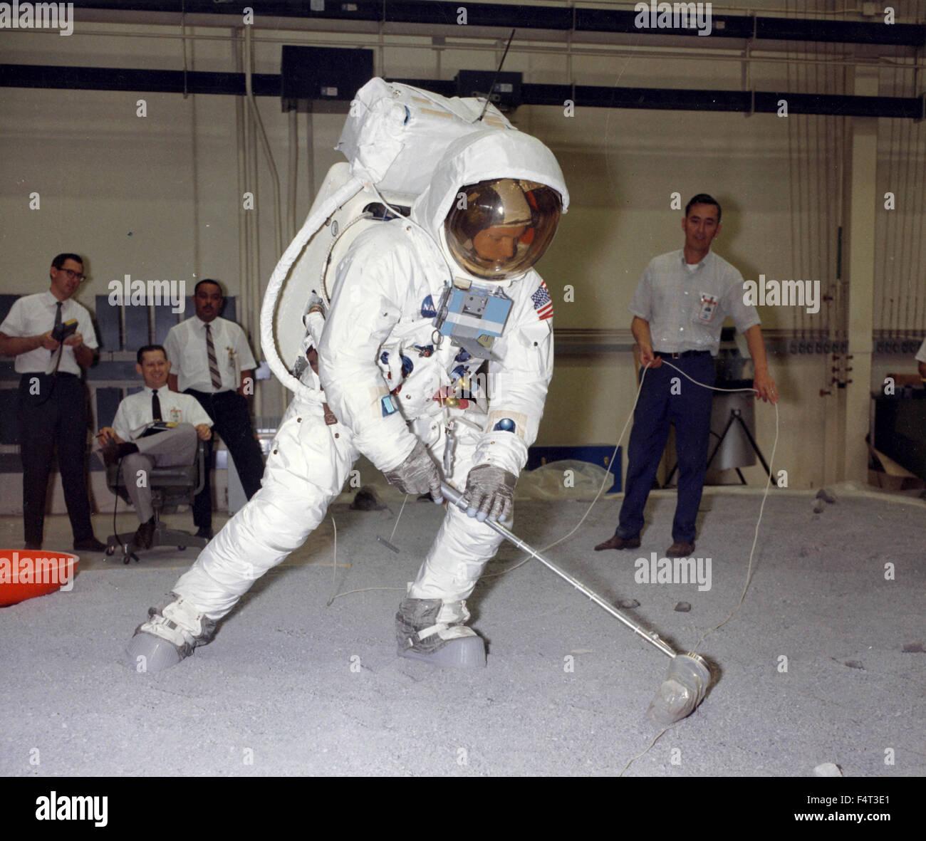 Training astronaut Neil Armstrong in the Apollo 11, Houston, TX, USA Stock Photo