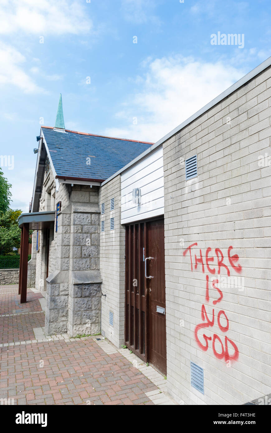There is no god graffiti on the wall of a church stock
