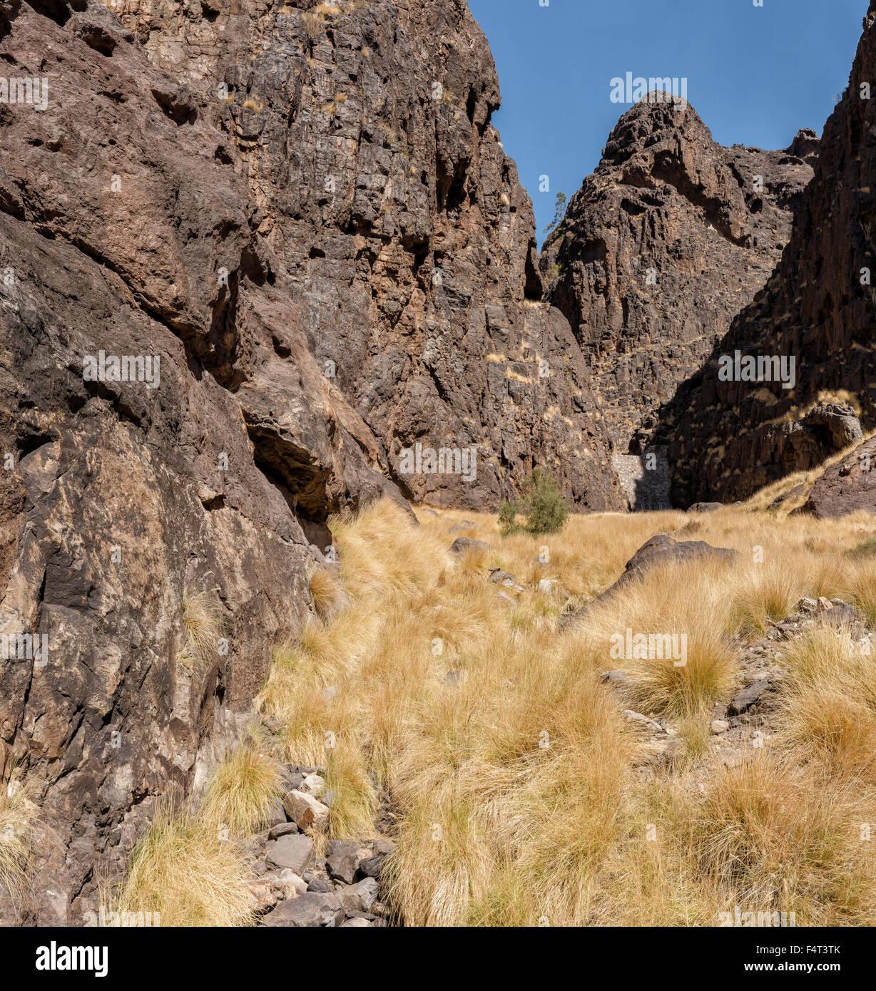 Spain, Europe, San Nicolas de Tolentino, Gran Canaria, Canary Islands, Barrance de la Aldea, landscape, summer, - Stock Image