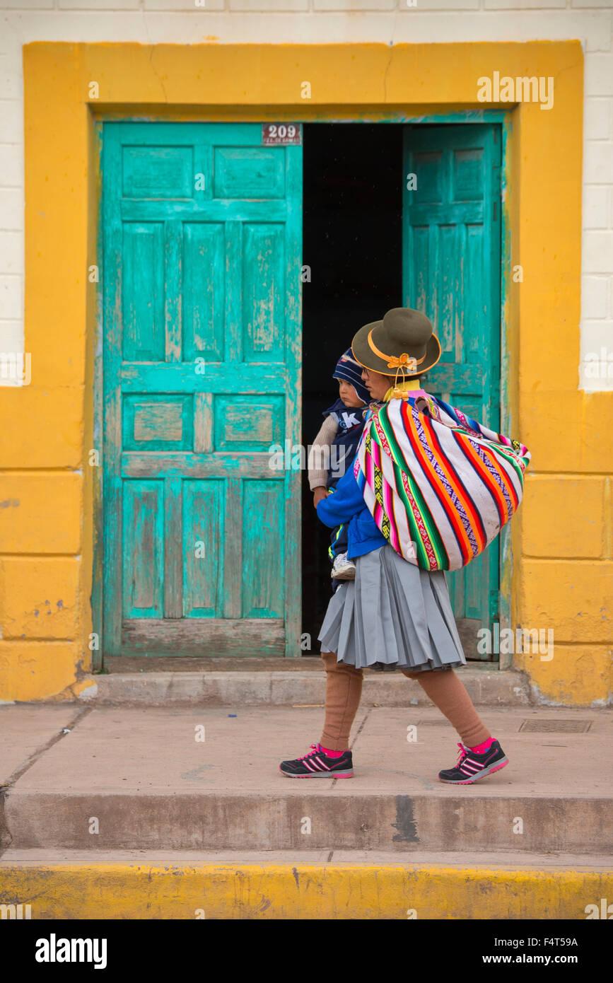 South America, Latin America, Peru, Cuzco, Native village - Stock Image
