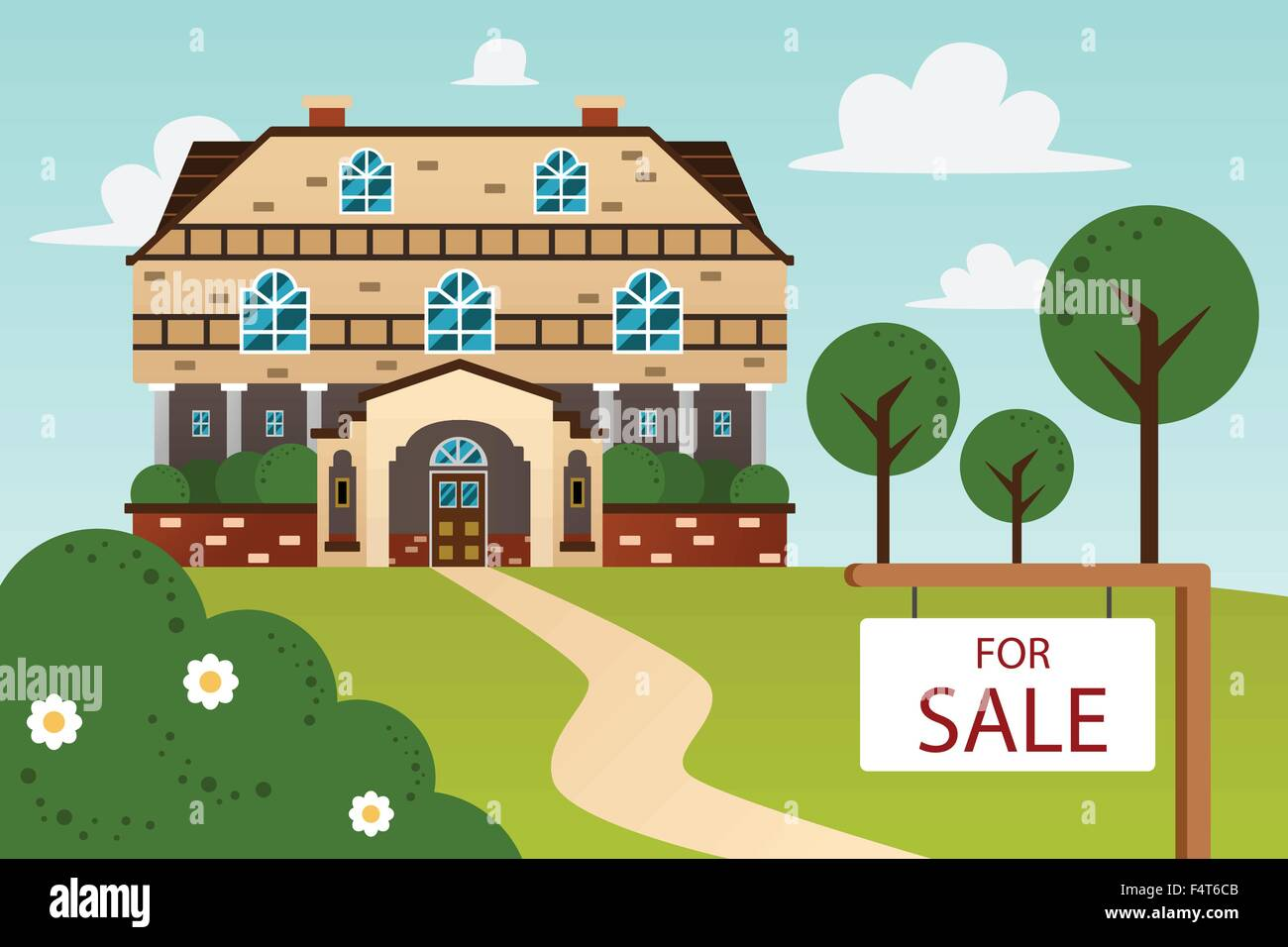 A Vector Illustration Of Big Beautiful Modern House With For Sale
