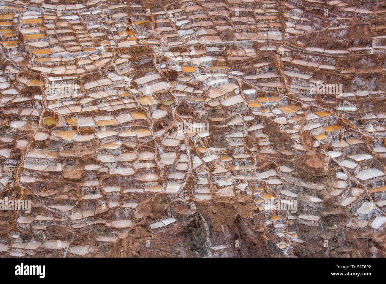 South America, Latin America, Peru, Cuzco, Salt mines in the town of Maras in the Sacred Valley - Stock Image