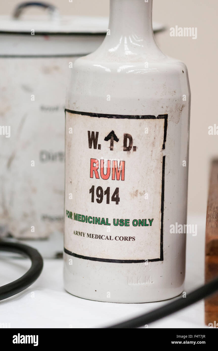 Bottle of rum from 1914, as used by the Army medical corp for medical purposes (as an anaesthetic during operations - Stock Image