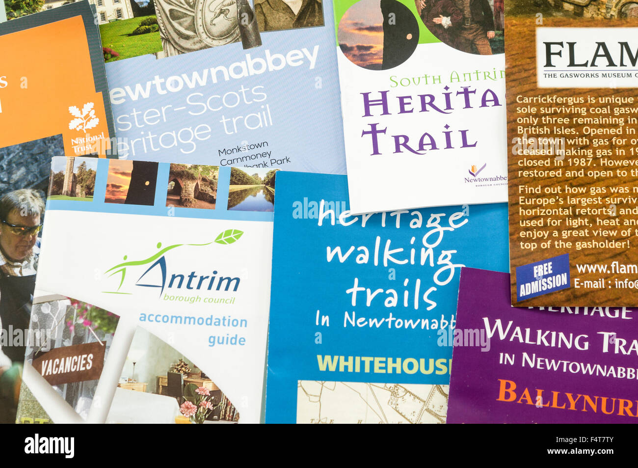 Tourist brochures for Newtownabbey and Antrim, Northern Ireland - Stock Image