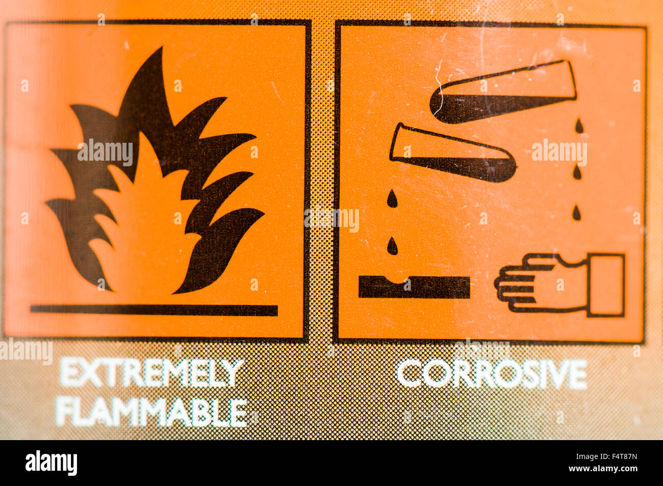Extremely flammable and corrosive warning labels on a cleaning product - Stock Image