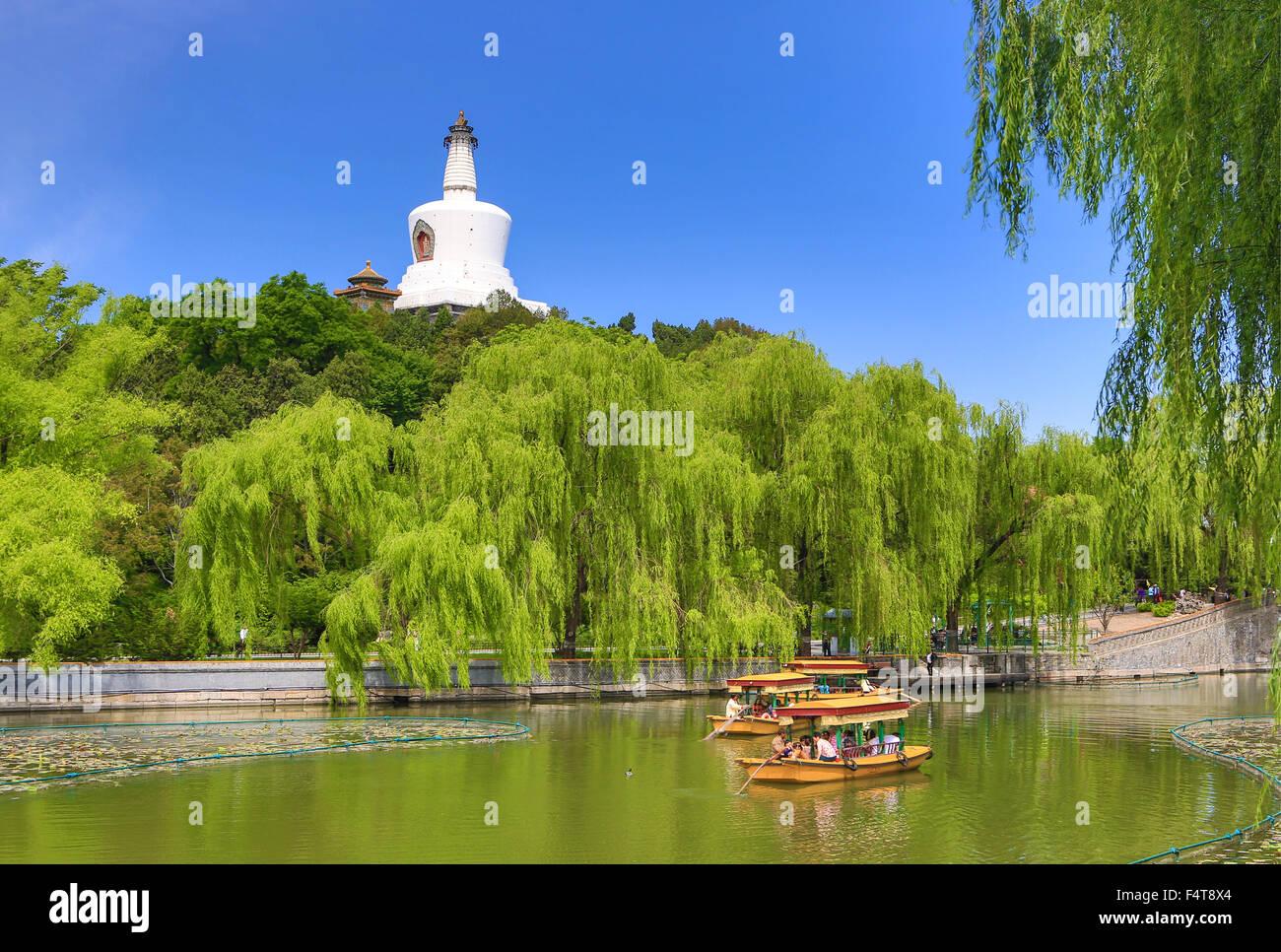 China, Beijing, Peking, City, Beihai Lake, Beihai Park, White Dagoba Stock Photo