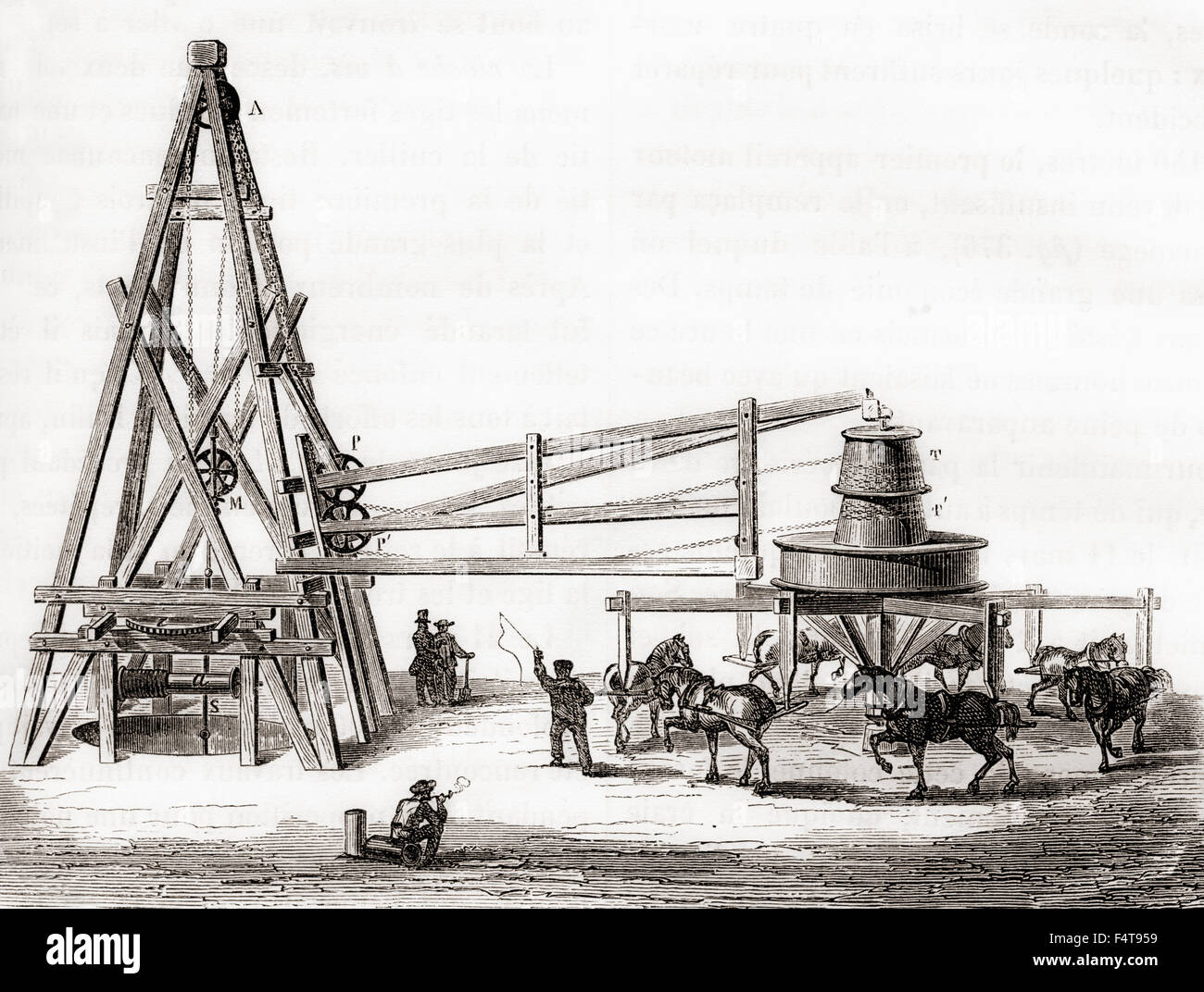 Workers using the carousel and winch to drill the artesian wells at Grenelle, France in the 19th century. - Stock Image
