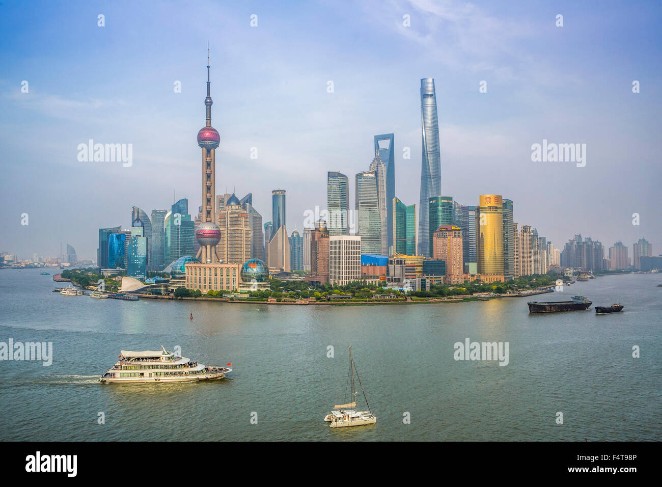 China, Shanghai City, Pudong Skyline - Stock Image