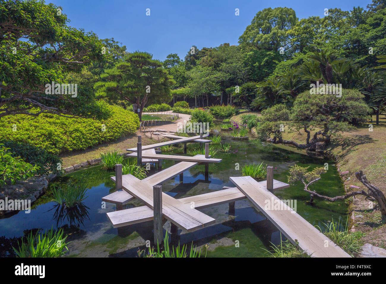 Japan, Okayama, Korakuen Garden bridge - Stock Image
