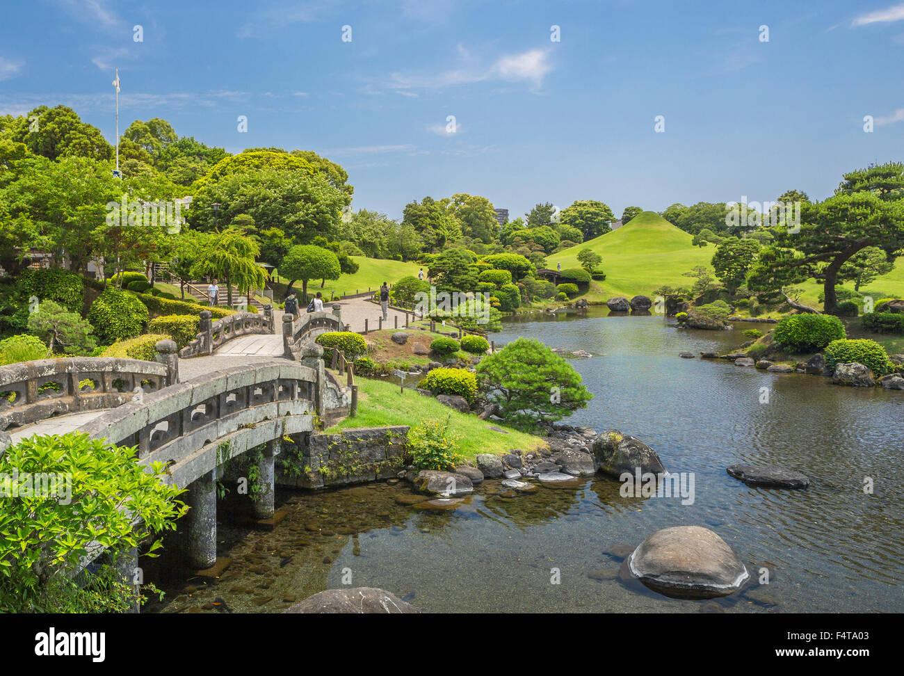 Japan, Kyushu Island, Kumamoto City, Suizenji Garden - Stock Image