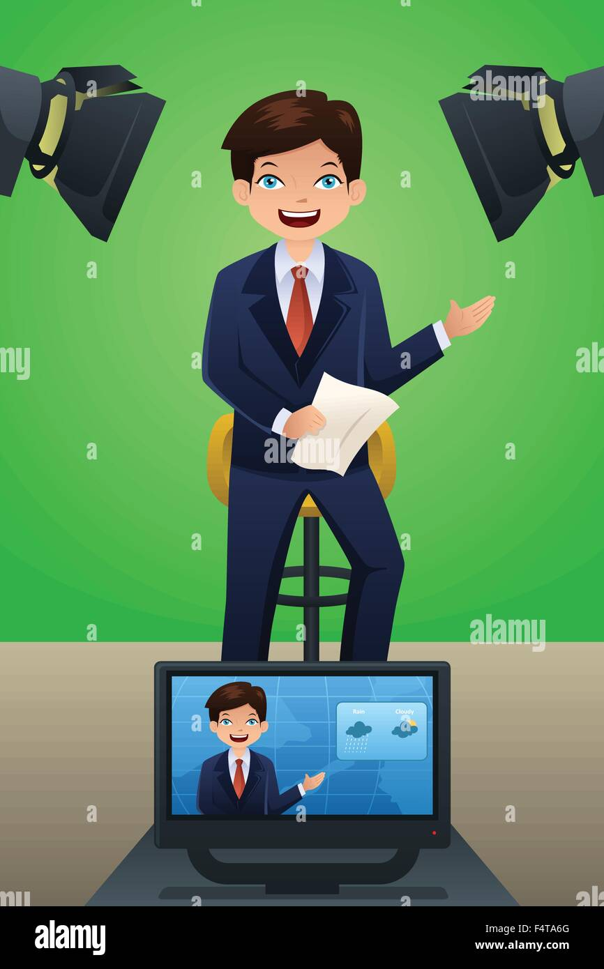 A vector illustration of a TV weather reporter at work - Stock Image